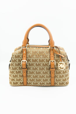 Michael Kors Ginger Small Duffle Satchel 35H9GYJS5J In Beige/Ebony/Luggage