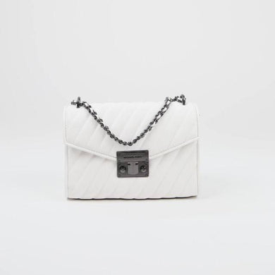 Michael Kors Medium Rose 35T0SX0L2U Flap Shoulder Bag In Optic White With Silver Chain