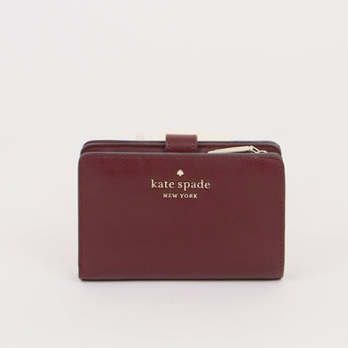 Kate Spade Medium Staci WLR00128 Compact ID Wallet In Cherrywood
