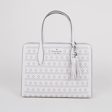 Kate Spade Medium Rowe WKRU6865 Top Zip Satchel Bag In WhiteDove
