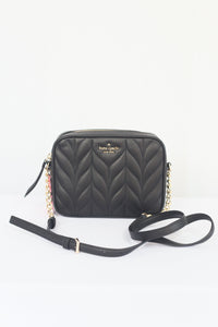 Kate Spade Briar Lane Quilted Camera Crossbody Bag WKRU6386 In Black