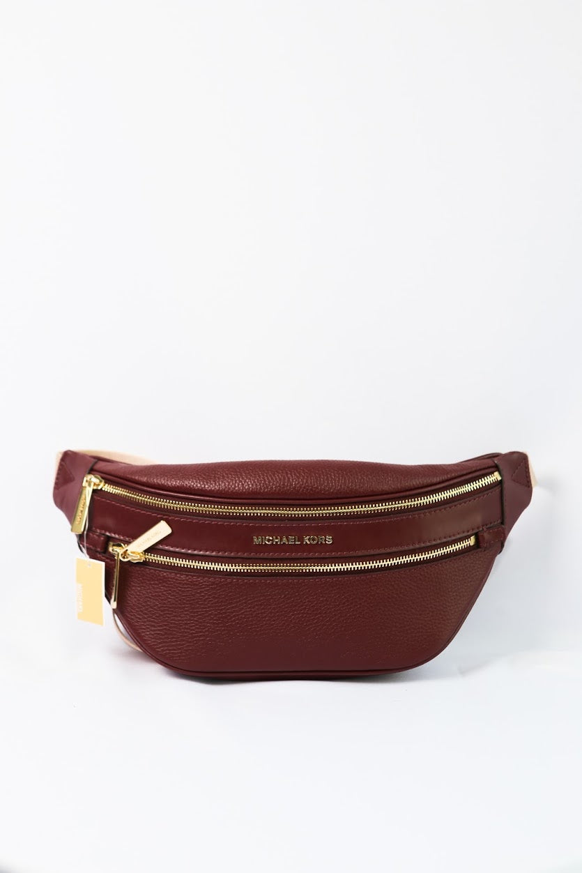 MICHAEL KORS KENLY MEDIUM WAIST PACK CROSSBODY LEATHER 35T9GY9N8L (MERLOT)