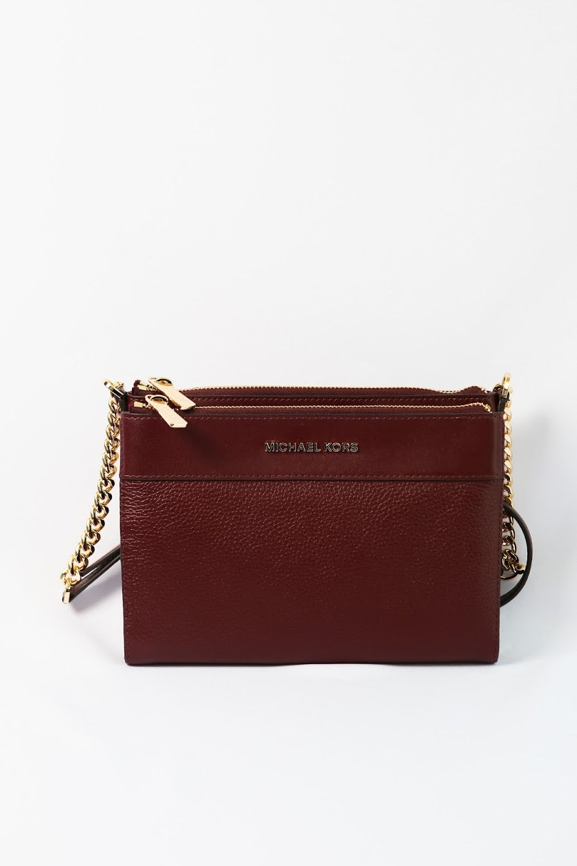 Michael Kors KENLY LARGE DOUBLE ZIP EW Crossbody Leather (Merlot) 35F9GY9C9L