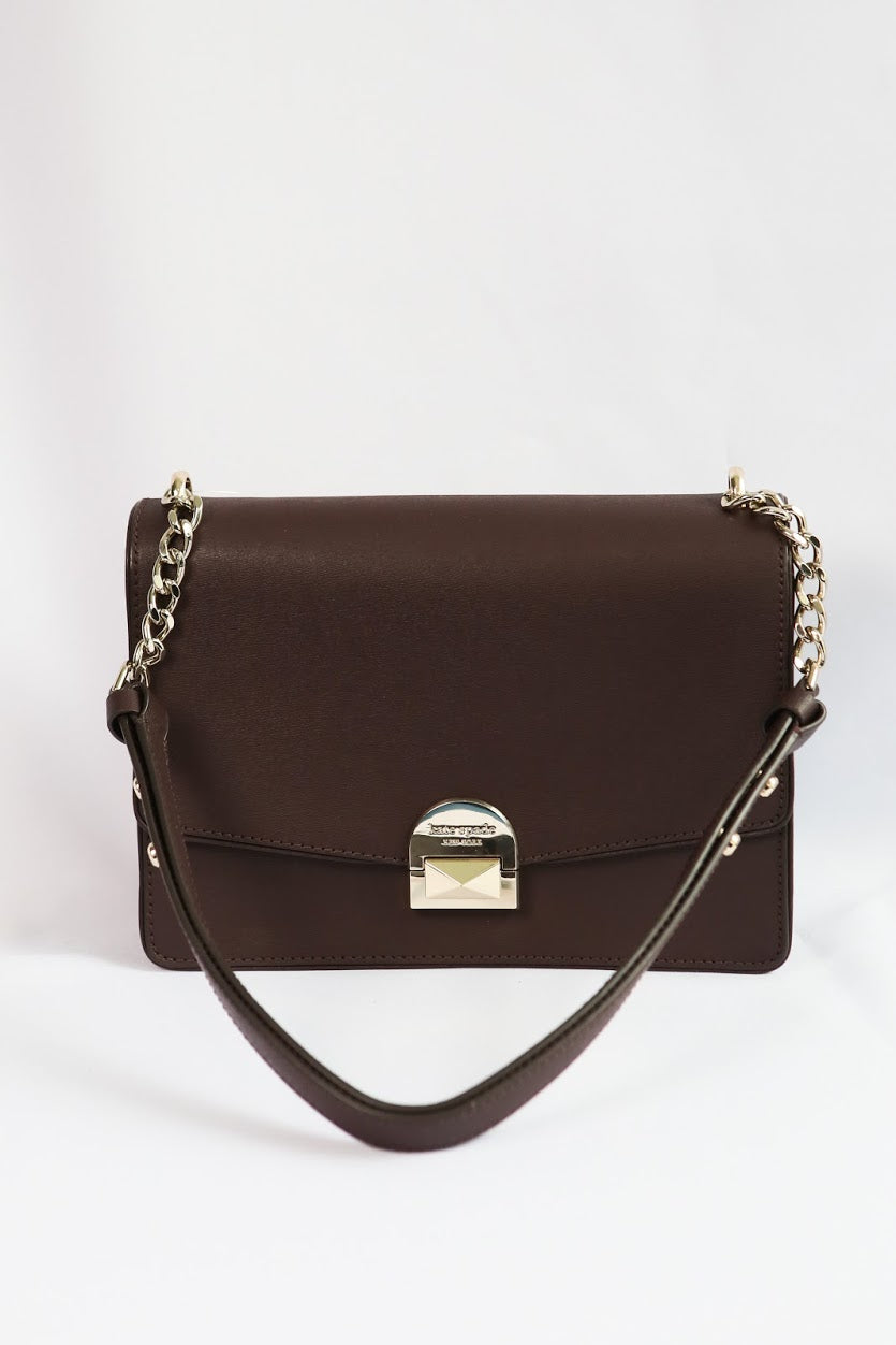 Kate Spade Medium Neve WKRU6050 Convertible Flap Shoulder Bag In Chococherry