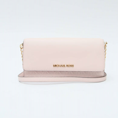 Michael Kors Large Jet Set Item 35T0STTC7Y Wallet On Chain Strap Crossbody Bag In Powder Blush