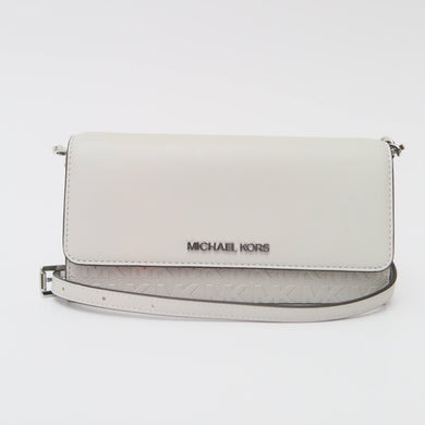 Michael Kors Large Jet Set Item 35T0STTC7Y Wallet On Chain Strap Crossbody Bag In Aluminum
