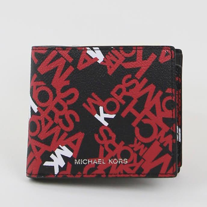 Michael Kors Cooper With Passcase 36F0LCOF2R Billfold Wallet In Crimson Red