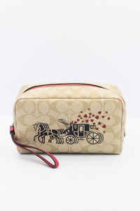Coach Boxy Cosmetic Case in Signature Canvas with Horse and Carriage Hearts Motif 91062 (Silver/Light Khaki Multi/Poppy)