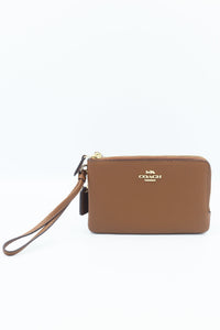 Coach Double Corner Zip Wallet In Polished Pebble Leather F87590 (Light Gold/Saddle 2)