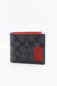 Coach Signature 3 In 1 Wallet With Patch In Sport Red Charcoal