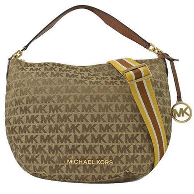 MICHAEL KORS BEDFORD MEDIUM CRESCENT SHOULDER (BEIGE/EBONY)