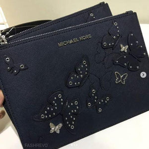 MICHAEL KORS BUTTERFLIES JET SET XL ZIP CLUTCH (NAVY)