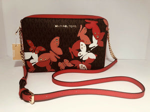 MICHAEL KORS HANDBAG BUTTERFLIES JET SET LARGE EW CROSSBODY SANGRIA (ORANGE/BROWN)