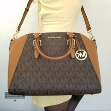 Load image into Gallery viewer, MICHAEL KORS HANDBAG CIARA LARGE TOP ZIP SATCHEL (BROWN/ACORN)