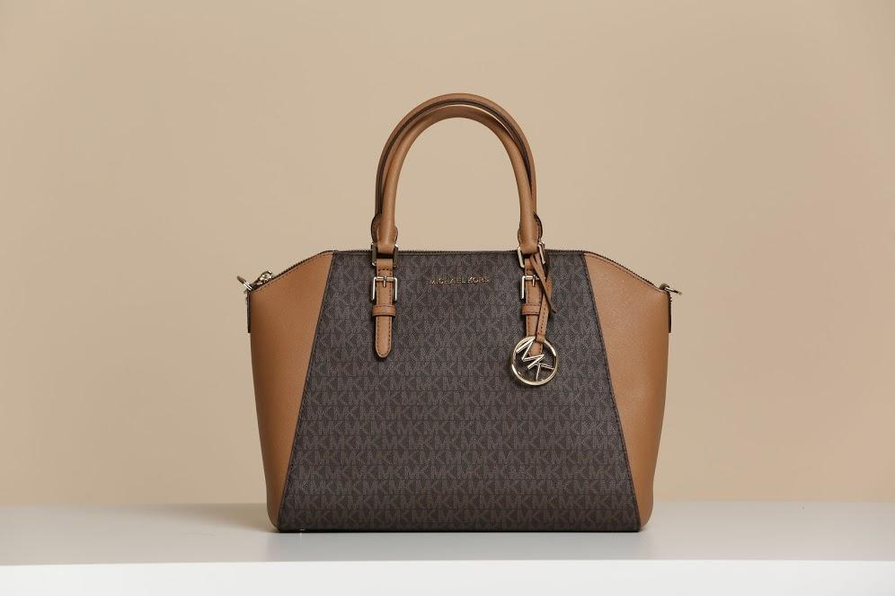 MICHAEL KORS HANDBAG CIARA LARGE TOP ZIP SATCHEL (BROWN/ACORN)