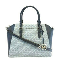 Load image into Gallery viewer, MICHAEL KORS HANDBAG CIARA LARGE TOP ZIP SATCHEL PALE (BLUE/NAVY)