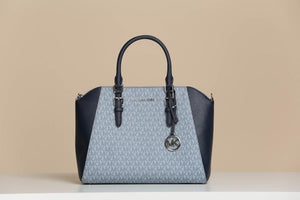 MICHAEL KORS HANDBAG CIARA LARGE TOP ZIP SATCHEL PALE (BLUE/NAVY)