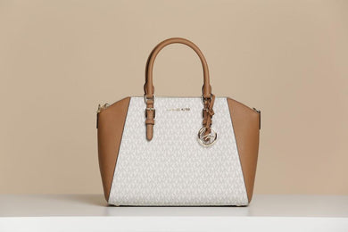 MICHAEL KORS HANDBAG CIARA LARGE TOP ZIP SATCHEL (VANILLA/ACORN)