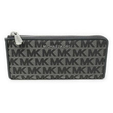 Load image into Gallery viewer, MICHAEL KORS IN SIGNATURE JET SET LARGE THREE QUARTER ZIP WALLET (HEATHER GREY)