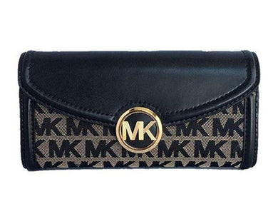 Michael Kors Fulton Large Flap Continental Wallet 35F9GFTE3J In Black