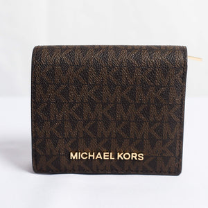 MICHAEL KORS JET SET TRAVEL MEDIUM CARRYALL CARD CASE 35F8GTVD2B IN BROWN ACORN