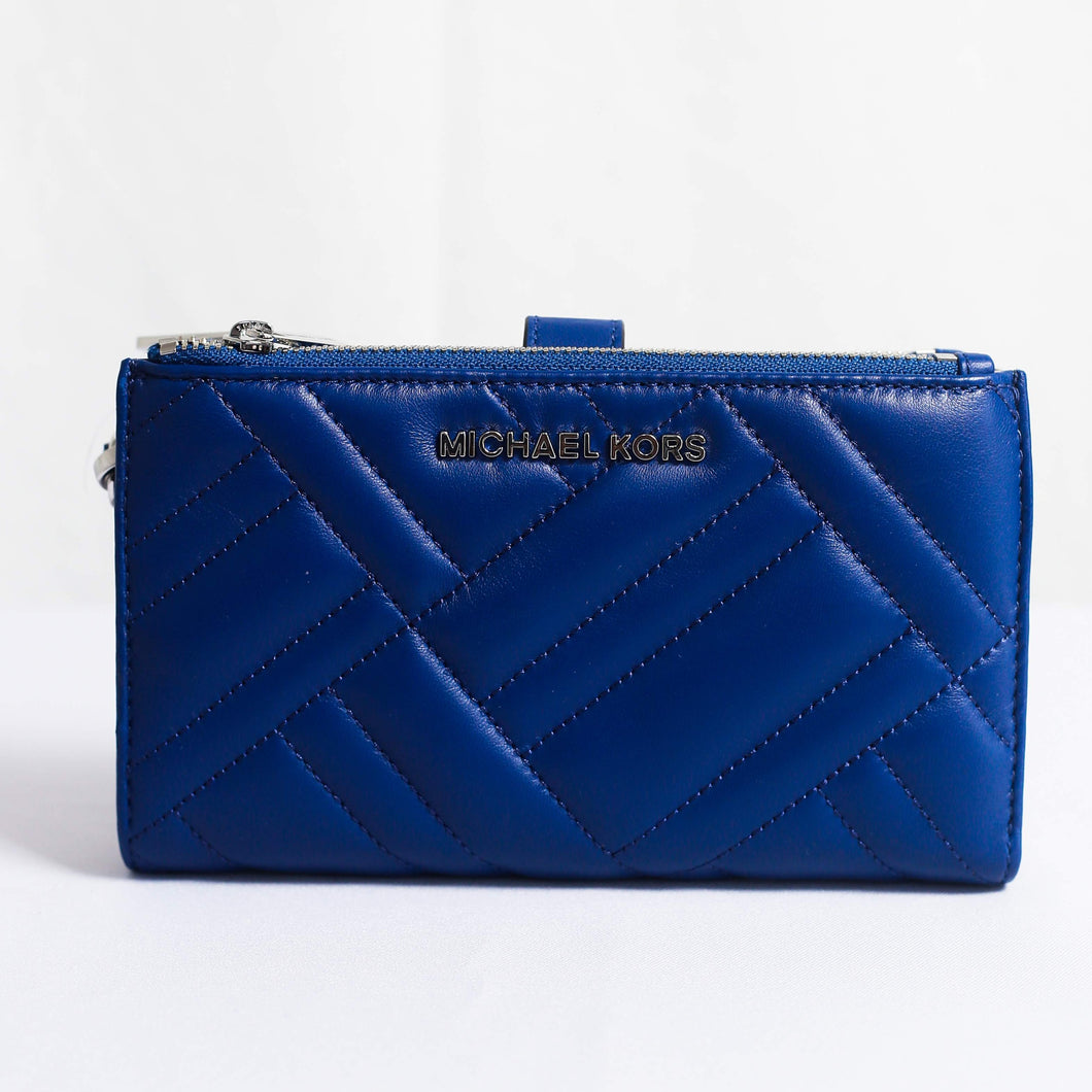 Michael Kors Peyton Large Double Zip Wristlet Leather 35H9SP6W3L In Cobalt