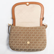 Load image into Gallery viewer, Michael Kors Bedford Medium Convertible Flap Shoulder 35H9GBF00J Beige/ Ebony/ Luggage bag