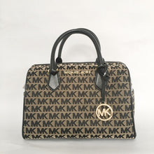 Load image into Gallery viewer, Michael Kors Bedford Large Duffle Satchel 35F9GBFU3J NS (Beige/Black)