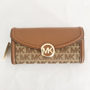 Michael Kors Fulton Large Flap Continental Wallet (Beige/Ebony/Luggage) 35F9GFTE3J