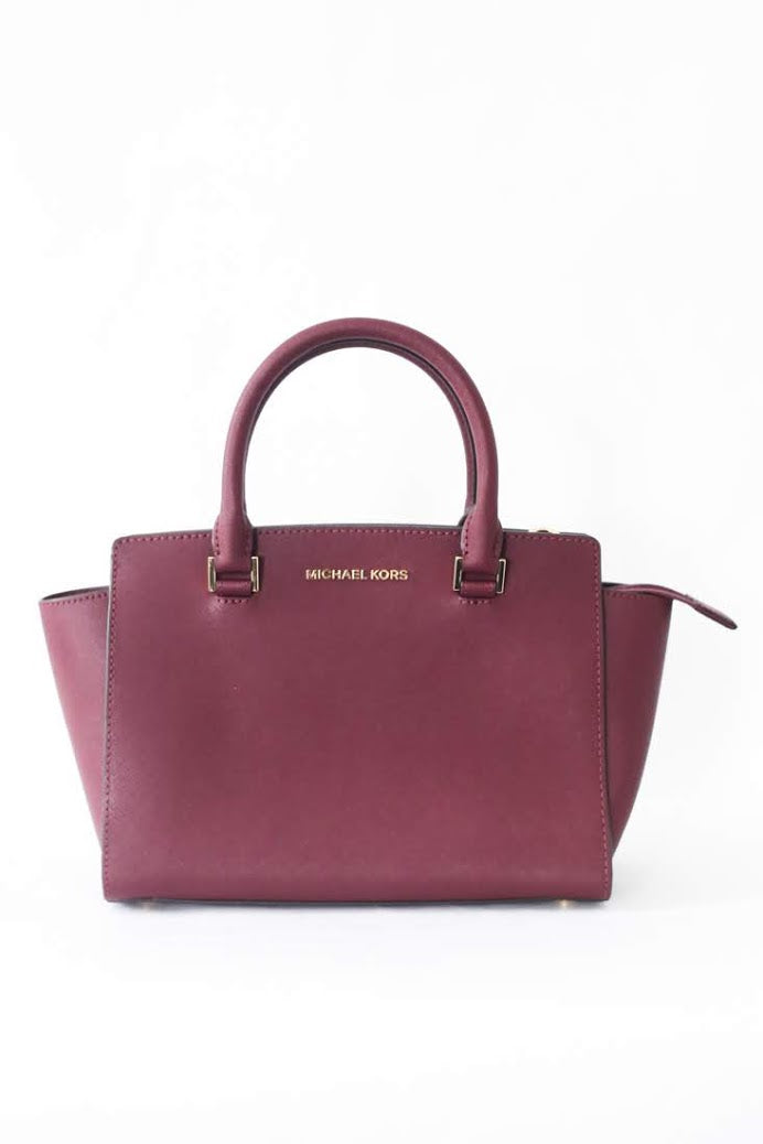 Michael Kors Selma Medium Top Zip Satchel (Merlot)