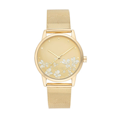(PREORDER) Nine West Floral Mesh Bracelet WATCH NW-2428FLGP