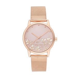 Nine West Floral Mesh Bracelet WATCH NW-2428FLRG