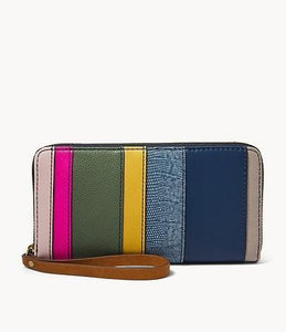 Fossil Jori Zip Clutch in Pink Multi