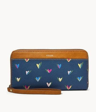 Fossil RFID Jori Zip Clutch Hearts In Blue Multi