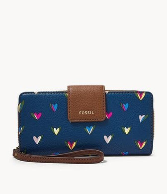 Fossil Madison Zip Clutch Hearts
