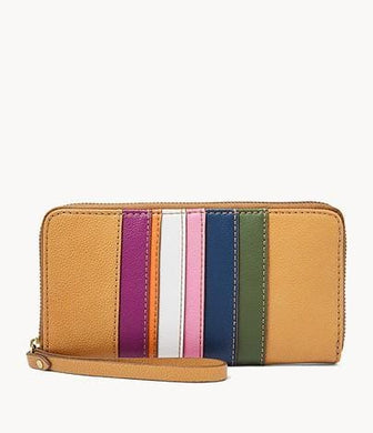 Fossil Jori RFID Zip Clutch In Navy Multi Stripes