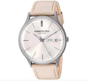 (PREORDER) Kenneth Cole New York Men's CLASSIC Stainless Steel Japanese-Quartz Watch with Leather Strap, Brown, 19.7 (Model: KC50589021)