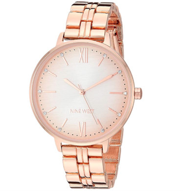 (Pre Order) Nine West Women's Crystal Accented Rose Gold-Tone Bracelet Watch, NW/2446RGRG