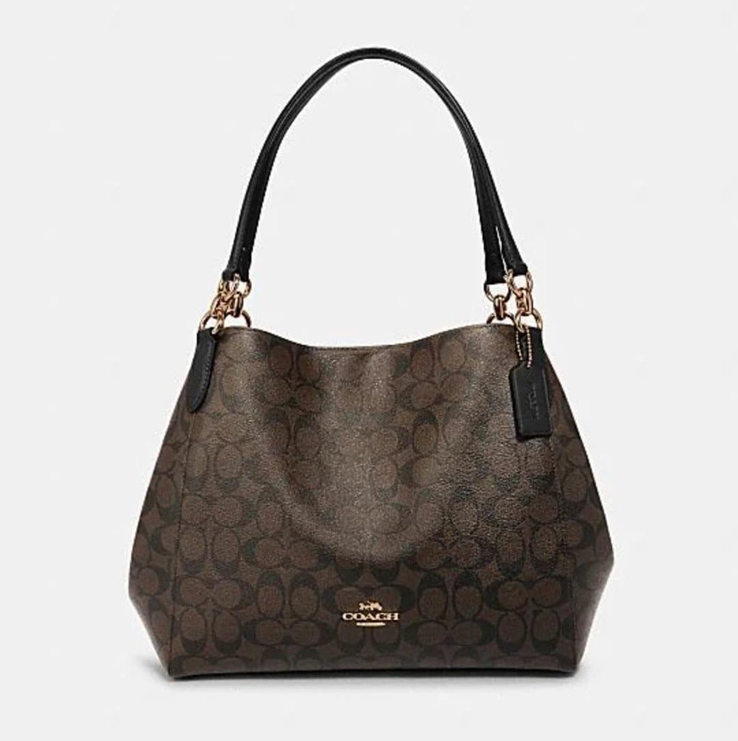 Coach Signature Hallie Shoulder Bag F80298 In Brown Black