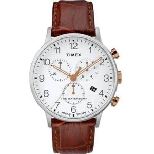 (PREORDER) TIMEX WATERBURY CLASSIC Chrono SST Case and White Dial Brown Strap WATCH TW2R72100