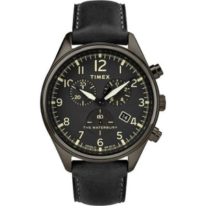 (PREORDER) TIMEX WATERBURY TRADITIONAL CHRONO GUNMETAL LEATHER STRAP WATCH TW2R88400