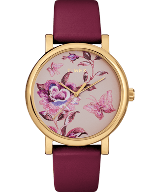 (PREORDER) Timex Full Bloom 38mm Leather Strap Watch TW2U19200
