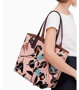 Kate Spade Arch Paper Rose Reversible Tote Bag (Pink Multi)