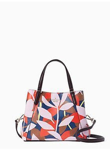 Kate Spade Jackson Tropical Toss WKRU6797 Medium Triple Compartment In Pink Multi