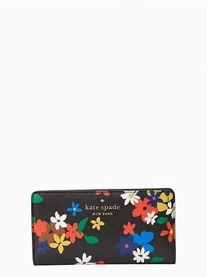 Kate Spade Large Staci Sailing WLR00414 Slim Bifold Wallet In Floral Black Multi
