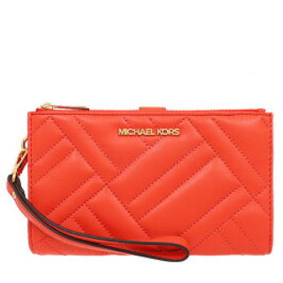 Michael Kors Peyton Double Zip Quilted Wristlet 35S0GP6W7L In Mandarin