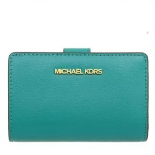 Michael Kors Medium Bifold Zip Coin 35T0GTVF8L Jet Set Travel Wallet In Aqua