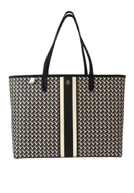 Tory Burch Tile T Link 64206 Tzag Allover Tote Bag In Black