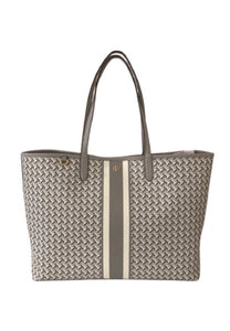Tory Burch Tile T Link 64206 Tzag Allover Tote Bag In French Gray