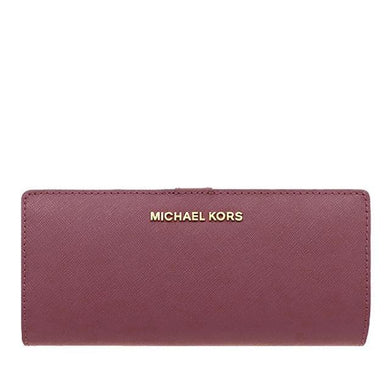 Michael Kors Medium Flat Slim Bifold 35F9GTVF6L Jet Set Travel Wallet In Merlot